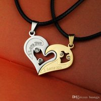 Wholesale Mens Stainless Steel Chain Black Heart Love Necklaces for Couples Korean Ladies Fashion Trendy Paired Suspension Pendants Model