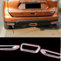 abs brake light - 3 set ABS Chrome Rear Fog Light Brake Light Cover for Nissan X Trail Rogue Fog Light Cover Trim Car Accessories