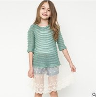 big o computer - Autumn Big Girls pullover New Lace Hem half sleeve Children Princess Dress Fashion Kids Splicing Tops