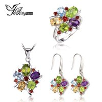 Cheap Wholesale-JewelryPalace 10ct Natural Amethyst Citrine Garnet Peridot Blue Topaz Ring Dangle Earrings Pendant Necklace 925 Sterling Silver