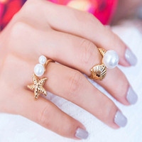Wholesale 2016 Hot sales fashion woman girl Mosaic pearl seastar shell Gold Plated ring Mixed style Confirmed the color ring