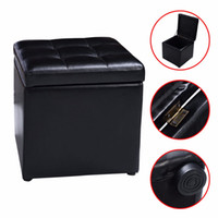 Wholesale Cube Ottoman Pouffe Storage Box Lounge Seat Footstools with Hinge Top New HW47908BK