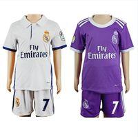 Wholesale 16 Kids Real Madrid Soccer Jerseys children Youth MCF Shirts RMA Sets RONALDO Kid Home Away Football Kits Soccer Uniforms Jersey