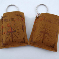 bible keychains - Mini Cross Holy Bible Keychain English HOLY BIBLE Key Chains Religious Christian Jesus Key Rings Souvenirs