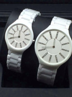 round table - 2016 New Men Women White slim black ceramic watches high quality business watch fashion waterproof couple watches student table
