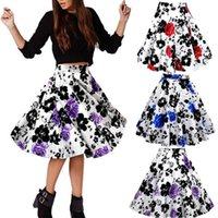 Wholesale 7 Contrast Colors s Style Vintage Skirts High Waist Floral Flower Tutu Skirts Elegant Print Mid Calf pleated short office Skirts FS0366