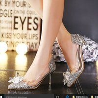beaded t sandal - 2015 Wedding Shoes Cinderella Crystal Transparent Sandals High Heel cm Silver Gold Prom Shoes Rhinestones Summer Bridal Shoes