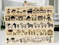 Wholesale Hot seller cartoon animals long wooden lace stamps for diary scrapbooking album gift set