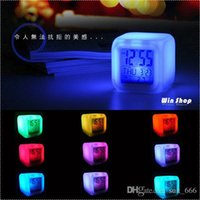 Wholesale free shpping hot led Decompression colorful color alarm clock cartoon lazy students creative mute luminous clock bedside clock electronic