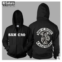 belt screen printing - 2016 High Quality Screen Printed Sons of Anarchy Samcro Sitcoms jax Thickening Fleece Sweatshirt Hoodie Cardigan colors