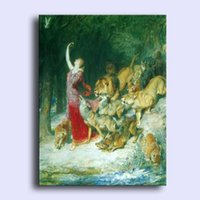 aphrodite painting - Hand painted Hi Q modern wall art home decorative abstract oil painting on canvas Aphrodite Fairy with wild animals in x36inch Unframed