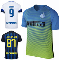 Wholesale 2017 Inter Milan Soccer Jersey Icardi Giovanna Candreva Inter Jerseys Milan Home Blue Away White rd Green Thai Quality Shirt