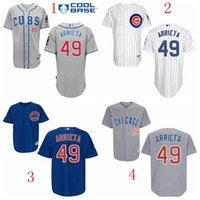 Wholesale 2016 Men s Chicago Cubs Jake Arrieta Jersey White Grey Blue Cool Base Stitched Authentic Baseball Jerseys Embroidery Logo
