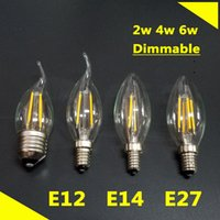 Wholesale Top Quality HIgh Lighting E27 E14 E12 W W W LED Candelabra Light Filament Candle Bulb AC110 V Indoor LED Lamp Degree