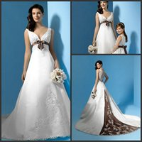 purple plus size wedding dresses - 2016 Maternity White And Purple Plus Size Wedding Dresses Deep V Neck Lace Appliques Sweep Train Bridal Gowns Custom Made Cheap Wedding Gown