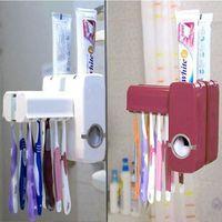 Wholesale 2016 Fashion Automatic Toothpaste Dispenser Toothbrush Holder Set Family Set Wall Mount Rack Bath Oral