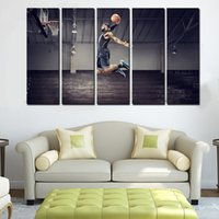 Cheap 5 Panels For Michael Jordan Artwork Canvas Painting Wall Art Canvas Paintings For Living Room Wall Cuadros Prints Photo No Frame
