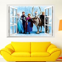 american vinyl windows - 2016 New PVC Cartton Frozen Wall Stickers Art Mural Home Decor Window Vinyl Wall Stickers Removable d Decals for kids room