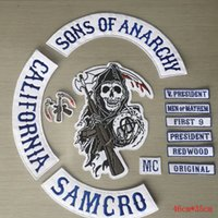 Wholesale USA UK pop fashion Hot Selling Sons of Anarchy Embroidery twill patches for clothing Jacket Biker Full Size and Full Set