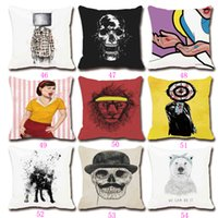 Wholesale Fashion Cartoon Square Home Decorative Cotten Linen Pillow Case Throw Pillows Seat Cushion Sofa Cover Waist Pillowcase W15