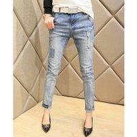 Wholesale 2016 New Spring Summer Fashion Ripped Boyfriend Women Hole Jeans Female Three Quarter Haren Pants Vintage Ladies Pencil pants