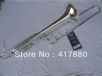 Wholesale Bach BO Sandhi Tenor Bb Trombone Instrument Silver Plated Trombone With Tuba Case EMS