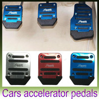 Wholesale Manual Transmission Car Pedal Cover Set Universal Non Slip Aluminum PVC Brake Clutch Accelerator Anti Slip Pad Blue Red Silver