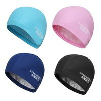 Wholesale High Quality PU Leather Ear Protection Swimming Cap Adult Men Women Waterproof Swimming Hat Silver Black Blue Pink Fast Shipping
