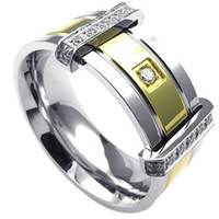 Wholesale Mens Cubic Zirconia Stainless Steel Ring Classic Wedding Band Gold Silver US size to Drop Shipping