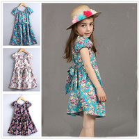 Wholesale Hot Sale Girls Summer Dress Fresh Style Stretchy Scoop Collar Puff Sleeve Floral Printed Girls Clothes Princess Party Dress LA283
