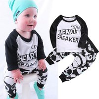 baby boys tshirts - Kids Newborn Baby Boys girls Clothes fashion little heart breaker letters printed Long Sleeve TShirts cute Pants Outfits top cotton Set