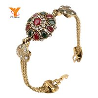 Wholesale Turkey Bracelet For Women Tibetan Silver Alloy Agate Red Resin Plating K Gold Bangle Retro Bohemian Roman Royal Jewelry