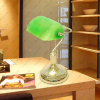 bankers lamp green - Vintage Bank Table Lamps Retro Brass Bankers Lamp Green Glass Lampshade Office Study Room Table Lamps Desk Lamp