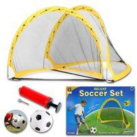 Wholesale New Set OUTDOOR DELUXE FOLDING KIDS CHILDREN S SOCCER POP UP FOOTBALL GOALS Posts Net Ball PumpToy Game