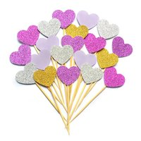 baby blue wedding cakes - 10PCS SET Lovely Heart Cupcake Toppers Girl baby shower decorations Party Supplies Birthday Wedding Party Decoration DHL
