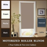 Wholesale New Motorized Black Roller Shades cm Drop with Dooya motor DM35S FOUR WIRES