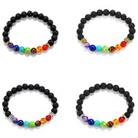 Wholesale Chakra buddha head Black Lava Stone Bracelets Gold Plated Black Yoga Bracelets Men Women Gift Religion pulseras Mujer Pulseras