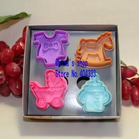 baby bottle cookie - Cookie Cutter Stamp Mold Set with Cute Baby Style Milk Bottle Baby Cart