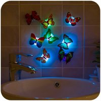 baby room mirrors - Creativity can paste a night light Baby bed lamp Colorful small night light The butterfly lamp20pcs