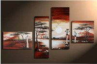 african people pictures - African Modern Abstract Sunrise People Life Giraffe Oil Paintings On Canvas Panel Art Set Home Wall Decorative For Living Room