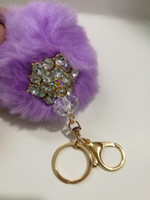Wholesale Fashion Fur PomPom Phone Car Keychain Pendant Handbag Charm Key Ring plush key chain Bag Pendant keychain cm Bag Accessory