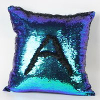 Wholesale 10pcs Double Sequin Pillow Case cover Glamour Square Pillow Case Cushion Cover Home Sofa Car Decor Mermaid Bright Pillow Covers