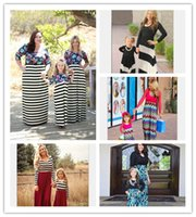 Wholesale 2016 family matching outfits mother and daughter spring long sleeve striped printed dress kids parent child outfits