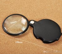Wholesale 5X Mini Glass Lens Pocket Magnifier with Leather Pouch Folding Magnifying Glasses Tool Lupas De Aumento Microscope Ferramentas