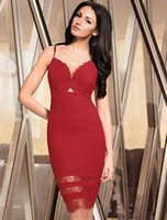 area club - 2016 new style Red strap sexy dress the waist hollow out the triangle area add transparent lace hem stripe