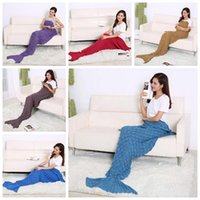 bags fish scale - 195 cm Handmade Mermaid Blankets Fish Scale Crochet Mermaid Tail Blankets Mermaid Tail Sleeping Bags Knit Sofa Blankets for adult LJJG388