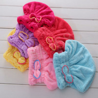 Wholesale Dry Hair Hat Microfiber Hair Turban Quickly Dry Hair Hat Wrapped Towel Bathing Cap Useful Home Textile Towel