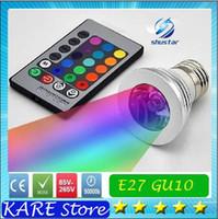Wholesale LED RGB Bulb Color Changing W LED Spotlights RGB led Light Bulb Lamp E27 GU10 E14 MR16 GU5 with Key Remote Control V V