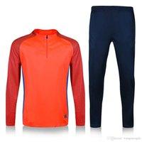 Wholesale Top quality Orange Training suit Men sport wear Training Soccer suit Neymar Messi Soccer sets survetement football t shirt p