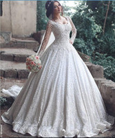 ball zip - Middle East Vintage Full Lace Wedding Dresses Long Sleeves Dubai Gorgeous Lace Bridal Gowns With Sweetheart Neck Zip Back Long Gowns